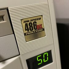 Custom Vintage 486 DX Gold Computer Case Badge FLAT Sticker Retro PC 486G 1x1