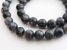 "Black Labradorite Smooth Round Beads 8mm 15.5"" Strand Semiprecious Gemstones G91"