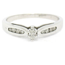 Petite 10k White Gold Marquise Diamond Solitaire Ring w/ Round Channel Accents