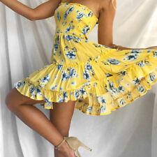 UK Boho Womens Off Shoulder Casual Floral Ladies Summer Beach Loose Mini Dress