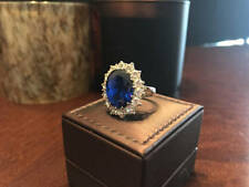 3.48 Ct Real Diamond Oval Blue Sapphire Ring 14K Solid White Gold Size L M N O P