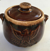 Vintage HULL OVENPROOF POTTERY Brown Drip With Bicentennial Eagle Design
