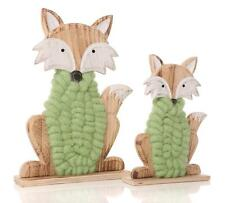Set of Woolly Fox Wooden Stand, Green, Ornament, Gift, Sheep Lover, Easter