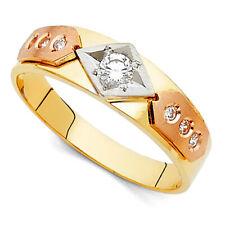 14k Tri-color Gold Cubic Zirconia 6-mm Mens Wedding band