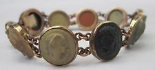 ANTIQUE HAND CARVED VICTORIAN ITALIAN GRAND TOUR LAVA CAMEO BRACELET