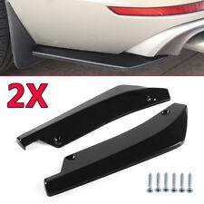 2x Universal Glossy Black Rear Bumper Lip Diffuser Splitter Canard Protector Car
