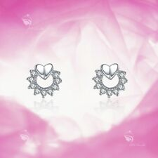 925 silver earrings simulated diamond heart round stud kids baby birth gift