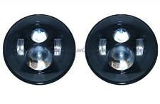 "7"" Black Projector HID White 6500K LED Daymaker Headlight Light Bulb Lamps Pair"