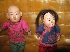 Two Antique Chinese Hand Painted in Period Clothes Paper Mache Dolls Marked
