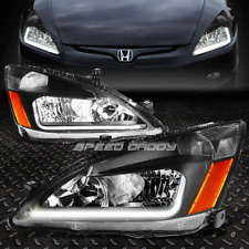 [LED DRL]FOR 2003-2007 HONDA ACCORD BLACK HOUSING AMBER SIDE HEADLIGHT/LAMP SET