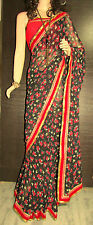 Boutique Made Saree Latest Trendy Printed Georgette Sari with Contrast Blouse