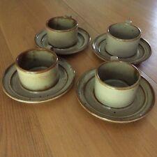 DANISH MODERN DANSK SET 4 CUPS/SAUCERS NIELS REFSGAARD NIELSTONE SPICE TAN JAPAN