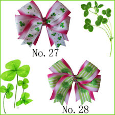 """50 BLESSING 4.5"""" Rose Cheer Hair Accessories Bow Clip National Flower Clover"""