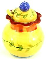 "Pfaltzgraff Napoli Yellow Blue Green Leaves Sugar Bowl Lid Spoon 5"" Tall VGUC"