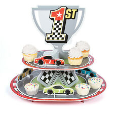 1st Place Checkered Racing Race Car Flag Cupcake Stand Nascar Birthday Party
