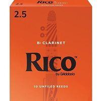 Rico Bb Clarinet Reeds, Strength 2.5, 10-pack - 2 1/2