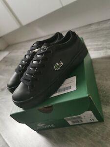 Boys Black Lacoste Trainers / School Shoes Size UK 11