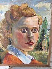 Antique Expressionist Oil Painting German? Portrait Of A Woman Thick Palette