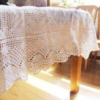 "Vintage 80x90"" Hand Crochet Cotton White Coverlet Bedspread Heirloom Sale"
