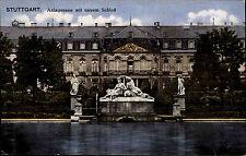 Stuttgart Color Postkarte 1917 gelaufen Anlagensee mit Blick auf das neue Schloß