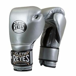 Cleto Reyes Velcro Boxe Gants Adulte Argent Entraînement 10oz 12oz 14oz 16oz