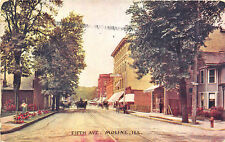 Moline IL Fifth Ave. Storefronts Trolley Tracks Horse & Wagons in 1910 Postcard
