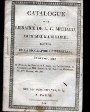 "PARIS (I°) CATALOGUE Empire de la LIBRAIRIE IMPRIMEUR-EDITEUR ""L.G MICHAUD"" 1818"