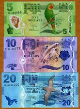 SET, FIJI, 5;10;20 dollars, 2012 (2013), P-115-116-117  UNC > New Design