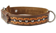 """Braided Studded Genuine Leather Dog Collar 17""""-22"""" neck  1.5"""" wide"""