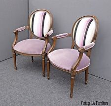 Vintage Pair of Baker Furniture French Provincial Purple Striped Arm Chairs