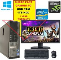 FAST Gaming DELL/HP Tower PC FULLSET Computer System Intel i3 8GB 1TB GT710.