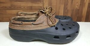 CROCS Islander Pitcrew Boat Shoes Mens US Size 10 Womens 12 Brown Leather Black