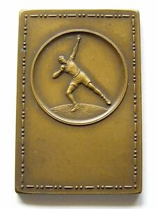 f818 1930's THROWING WEIGHT Sports Championship Nude Man Award bronze medal