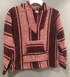 Kids Artesanias Baja Hoodie Poncho Mexican Blanket Red White Black (L) See Descr