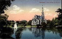 Stuttgart Baden Württemberg Color AK 1920 gelaufen Johanneskirche mit Feuersee