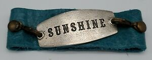 LENNY AND EVA: Turquoise Leather Cuff Bracelet w/ Small SUNSHINE Plate