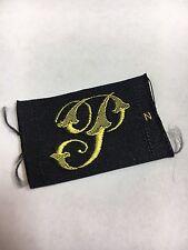 A3 Antique Letter P Monogram Initial Sewing Patch Gold Black Font Per 1