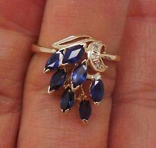 STUNNING 14K YG LADIES BLUE SAPPHIRE & DIAMOND CLUSTER RING SIZE 6.5  G106116-2