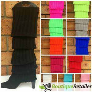 Pair of Womens Leg Warmers Disco Winter Knit Dance Party Crochet Legging Socks