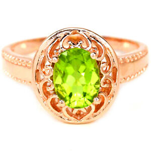 NATURAL AAA APPLE GREEN PERIDOT OVAL STERLING 925 SILVER SOLITAIRE RING SIZE 9.5