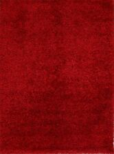 New Contemporary Plush Modern Shaggy Oriental Hand-Knotted 4x6 Red Area Rug