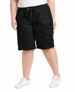 Calvin Klein Women's Shorts Black Size 1X Plus Pull-On Drawstring $59 653