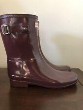 Hunter Original Refined Gloss Short Rubber Rain Boot Purple women Size 8 New