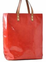 Authentic Louis Vuitton Vernis Reade MM Hand Bag Red LV A8890