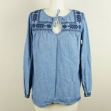 J Crew Floral Nature Embroidered Chambray Blue Top Womens Sz T XS Tall