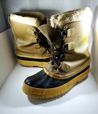 Sorel Women's Size 6 Kaufman Manitou Rubber Duck Tan Black Boots Made in Canada
