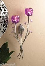 PURPLE diamond Glass art shabby wall mount sconce Votive flower Candle holder