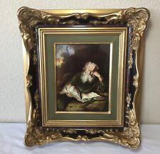 The Hermit Solomon Koninck Print on Porcelain Rosenthal St Jerome Framed Dresden