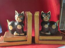 """SPOOKY BLACK BEIGE Tabby Cat Hand Painted Wood Bookends, 8"""" tall HALLOWEEN"""
