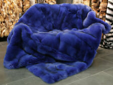 399 SAGA blue fox fur blanket Genuine Fur Throw Real Fox Fur Plaid Fur Bedspread